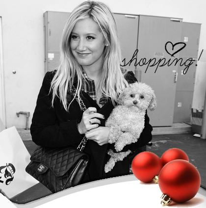 Ashley Tisdale Gets Her Happy Holiday Shopping On