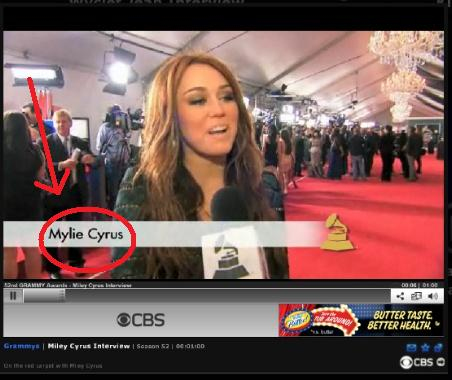 Miley Cyrus at the Grammy's, spelled her name wrong!