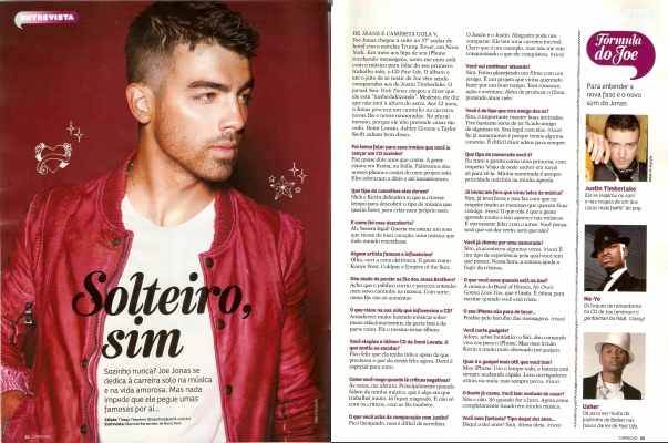 Joe Jonas interview in Capricho Magazine.