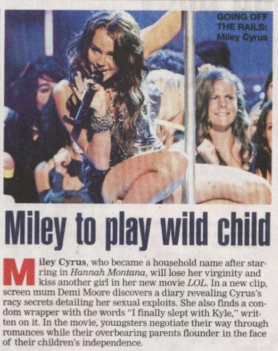 Miley Cyrus Featured On The Indian Newspaper!