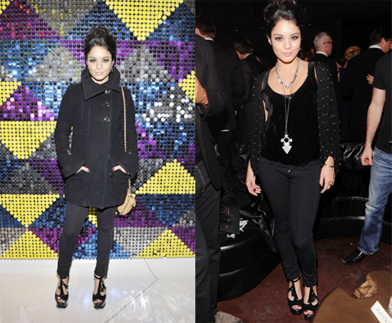 Vanessa Hudgens all black at events in NYC on Feb 8th (photos)