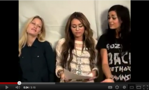 "[Exclusive Video] Miley Cyrus and Ahley and Lina ""LOL"" Screen test"