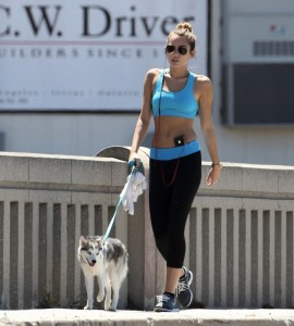 Miley Cyrus doing Jogging in Los Angeles