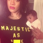Rihanna Poses With Her New Born Cousin With A Rude Comment On Her Top
