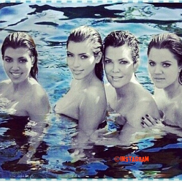 The Kardashian Sisters AND Kris Jenner Go Naked In A Swimmingpool!