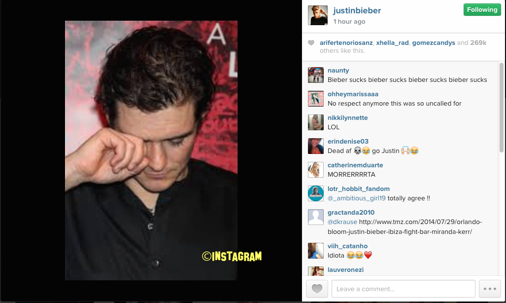 Justin Bieber Makes More Fun Out Of Orlando Bloom On Instagram