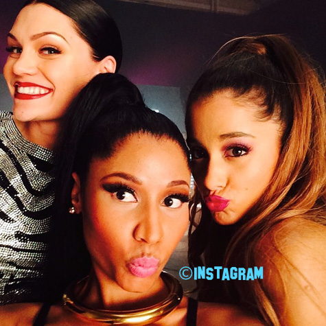 Nicki Minaj, Ariana Grande, & Jessie J Poses Together On The Set Of Their New Music Video For Bang Bang