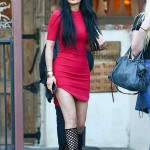 Kylie Jenner Looks Amazing in a Tight Red Dress with Lattice-Style Heels